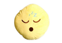 """Buy this discounted product Emoji Pillow """"Sleepy"""" Sleeping Face by Wreckens Toys Large (13 x 13 x 4 inches) Yellow Round Stuffed Plush Throw Cushion on Amazon"""