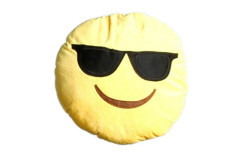 """Buy this discounted product Emoji Pillow Sunglasses """"Cool"""" by Wreckens Toys Large (13 x 13 x 4 inches) Yellow Round Stuffed Plush Throw Cushion on Amazon"""