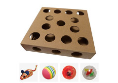 Buy this discounted product Unique Design, New to the US for 2017 - Interactive Indoor Kitten and Cat Toy Puzzle Box - From UK TV The Secret Life of Kittens - Four Cat Toys included, 3 Balls and a Mouse - Great Gift for any Cat on Amazon