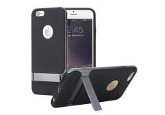 Buy this discounted product iPhone 6s Case, ROCK® MOOST [Royce Series] Dual Layer Shockproof Thin & Slim Case With Kickstand for iPhone 6/6s 4.7in (2015) [Black / Iron Grey] on Amazon
