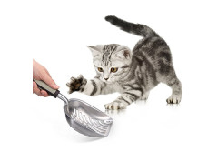 Buy this discounted product Pet Litter Scoop - PETAMO Strong Metal Cat Litter Scoop, Stainless Steel Litter Scoop, Durable Grip Sift Pet Kitty Dog Pooper Scooper with Long Handle on Amazon
