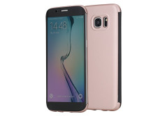 Buy this discounted product S7 Edge Case, ROCK® MOOST [DR.V Series] Translucent Touch Sensible Front Flip Cover Case for Samsung Galaxy S7 Edge (Rose Gold) on Amazon