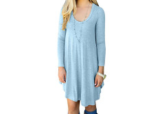 Buy this discounted product Women Basic Long Sleeve Loose Flowy Tunic Tunic Dresses Light Blue Small/US4-6 on Amazon