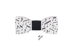 Buy this discounted product Bow Tie House Musical notes bow ties painted unisex wooden pattern + gift box (Medium, White) on Amazon