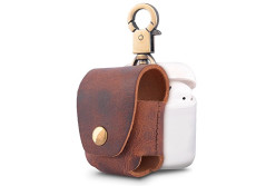 Buy this discounted product Genuine Leather Earphone Case for Apple Airpods,Airpods Pouch Case Cover with Copper Clasp Ring and Connect Button (Leather-Brown) on Amazon