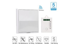 COLEMETER Wireless Light Switch Kit , No Wiring , No Battery , No WiFI - Self-powered Switch Paired up Receiver - 100-500ft Remote Control Lamps Fans Appliances On / off - Easy Installation