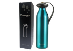 Zzanggu Water Thermos Flasks Bottle Keep Hot&Cold Double Walled Vacuum Cup Insulated Stainless Steel with Handle Strap,Leak Proof for Sports Camping Travel,17oz/500ml(Blue)