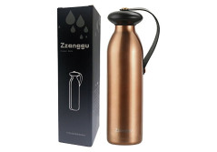 Zzanggu Water Thermos Flasks Bottle Keep Hot&Cold Double Walled Vacuum Cup Insulated Stainless Steel with Handle Strap,Leak Proof for Sports Camping Travel,17oz/500ml(Gold)