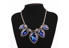 Buy this discounted product Chunky Statement Necklace Short Sapphire Necklace Teardrop Diamond Necklace Collar Costume Jewelry on Amazon