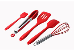 KITCHEN UTENSIL SET 5 IN 1 (Heat Resistant,Hygienic,Non Stick & Durable- Perfect for cooking or Baking- Red Colur)