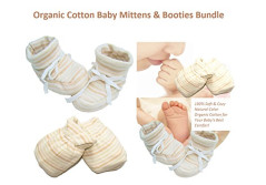 Huiker Baby Mittens and Booties Bundle - 100% Organic Cotton Soft & Cozy Stay On Scratch Proof Baby Mittens and Booties Unisex 0-12 Months