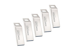 Buy this discounted product KOOTION 5PCS 16GB USB3.0 Flash Drives Waterproof Metal Ergonomic Design Memory Stick Thumb Drives, Silver on Amazon