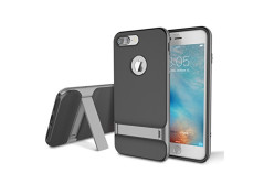 Buy this discounted product iPhone 7 Plus (5.5 inch) Case, ROCK MOOST [Royce Series] Dual Layer Shockproof Thin & Slim Case With Kickstand for iPhone 7 Plus (2016) (5.5inch) [Black / Grey] on Amazon