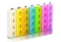 Buy this discounted product 7 Days 28 Compartments Pill Organizer Tablet Box Weekly Medication Case Daily AM Morning Noon PM Night Backup Container Compartments Detachable Dispenser (Assorted Colored) on Amazon