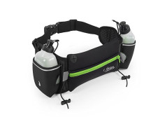Buy this discounted product Hydration Running Belt - Nosiva Adjustable Neoprene Water Resistant Waist Fuel Belt Bag, with 2 BPA-free 10oz Water Bottles for Running Hiking Cycling Climbing (Black / Green) on Amazon