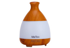 Buy this discounted product MeToo Aroma Diffuser 120ml Ultrasonic HumiDifier Cool Mist Essential Oil Diffuser with Colorful LED Light for Family, Gym,Spa-Wood Grain on Amazon