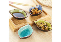 Buy this discounted product Seasoning Dish Dinnerware Set Appetizer Plate Japanese Calvings Glaze Ceramic Vinegar Spice Salad Soy Sauce Sushi Wasabi Dipping Bowls, Service for 4 on Amazon