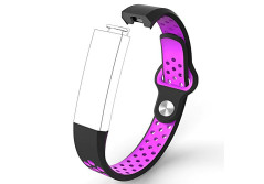 Buy this discounted product Fitbit Alta Bands HR Accessory Wristband,Durable Silicone Adjustable Replacement Sport Breathable Fitness Strap(Black Purple, 5.4-8.0 inches) on Amazon