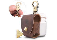 Buy this discounted product Airpods Apple Accessories Leather Earphone Case,Airpods Pouch Case Cover with Copper Clasp Ring and Connect Button (Leather-Brown) on Amazon