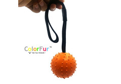 Buy this discounted product Colorfur - Tough Ball Toy for Medium and Large Dogs, Chew Resistant Hard Rubber Ball with Interactive Handle (L,Orange) on Amazon