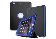 Buy this discounted product New iPad 9.7 2017 case DUNNO Grid non-slip surface Three Layer Heavy Duty Full Body Protective Case for Apple iPad 9.7 2017 (Black+Blue) on Amazon