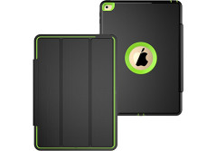 Buy this discounted product iPad Air 2 Case, 3 In1 PC + TPU + Leather Hybrid [Stand] Shockproof Protective Cover Case with Auto Wake / Sleep for Apple Ipad Air 2 with Screen Protect,Color (Green) on Amazon