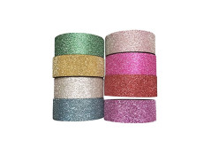Buy this discounted product 8 Rolls Glitter Washi Masking Tape, 0.59'' x 196'' Kawaii Japanese Decorative Adhesive Solid Color Paper Tape Diary Sticker Gift Washi Tapes on Amazon
