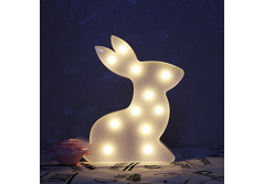 Buy this discounted product Rabbit Led Night Light Baby Room Decor Nursery Home Living Room Wall Derorations (White) on Amazon
