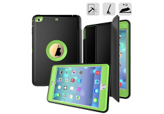 iPad Mini 1/ 2/ 3 Case, 3 In1 PC + TPU + Leather Hybrid [Stand] Shockproof Protective Cover Case with Auto Wake / Sleep for Apple Ipad Mini 3/ 2/ 1 with Screen Protect,Color (Green)