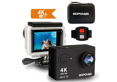 Buy this discounted product Action Camera, ABOX Bopower 4K Action Camera 12MP HD Wi-Fi Waterproof Sports Camera with 170 Degree Angle 2 Rechargeable Batteries 30 Meters(100 Feet) Waterproof Housing 2.4G Wireless Remote Control on Amazon