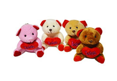 Buy this discounted product DF Love Expressing Cute Teddy Bear Key Chain Plush Toy (12, Assorted) on Amazon