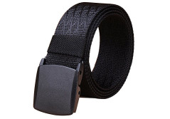 Buy this discounted product Fairwin Men's Military Tactical Web Belt, Nylon Canvas Webbing YKK plastic Buckle Belt(Black-B) on Amazon