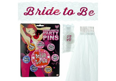 Buy this discounted product Hen Party Accesories Bride to Be - 4 piece set Hen Do Games Decorations Veil Badges Sash Garter on Amazon