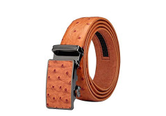 "Buy this discounted product Men's Belt Ratchet Leather Dress Belt with Automatic Buckle 35mm Wide 27""-40"" Ostrich Grain Tan on Amazon"