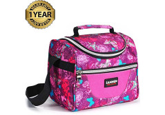 Buy this discounted product Lunch Bag For Women, Reusable Lunch Tote Bag Adult Lunch Box For Work, Men, Women With Adjustable Strap and Zip Closure Travel Lunch Tote, Front Pocket (rose) on Amazon