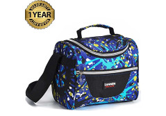 Buy this discounted product Lunch Bag Kids Insulated Lunch Box Reusable Lunch Box for School Work Men/Women /Kids With Adjustable Strap and Zip Closure Travel Lunch Tote, Front Pocket (black) on Amazon