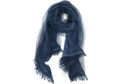 Buy this discounted product Winter Trendy Scarf - OKEER Unisex Solid Color Silk Cotton Layered Wraps(Dark Blue) on Amazon