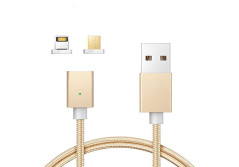 Buy this discounted product Magnetic Lightning Micro USB Charging Cable Cord Braided Two-mode Super Magnetic Charging Data Sync Cable for Android Smart Phone iPhone and More/3.3 ft( Gold) on Amazon