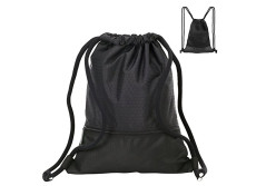 Buy this discounted product Drawstring Bag,Water Repellent Nylon Sport Gym Bag-Lightweight and Durable Rucksack with 2 Extra Zipper Pocket,Drawstring Backpack for Sport School Travel-Black on Amazon