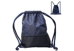 Buy this discounted product Drawstring Bag,Water Repellent Nylon Sport Gym Bag-Lightweight and Durable Rucksack with 2 Extra Zipper Pocket,Drawstring Backpack for Sport School Travel-Blue on Amazon
