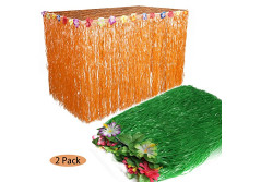 Buy this discounted product Grass Table Skirt Halloween - 110 x 29 Inches Luau String Hibiscus Leis Silk Flower Party Decoration(2 Pack,Orange and Green) on Amazon