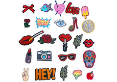 Buy this discounted product Iron On Embroidered Patches - OKEER 24 Pcs Sew On Patches Motif Applique Decoration DIY Patch for Jeans,Clothing,Jackets,Backpacks (Patch-Fashion) on Amazon