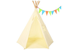 Buy this discounted product Teepee Tent For Kids - 6 Pole Tipi Design Indoor Tee Pee Tent - Includes Carry Bag & Bunting - 100% Chemical Free Natural Cotton Canvas on Amazon