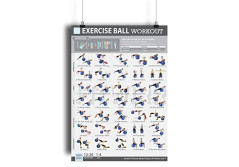 """Buy this discounted product Exercise Ball Workout Poster NOW LAMINATED - Total Body Workout -Fitness Ball Exercises - Body Toning, Sculpting - Home/Gym Workout - Core Training for Abs, Legs, and Butt - Rehabilitation 19""""X27"""" on Amazon"""