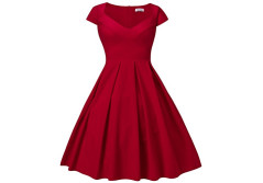Buy this discounted product Dilanni Women's Classy Audrey Hepburn 1950s Vintage Rockabilly Swing Dress Red Large on Amazon