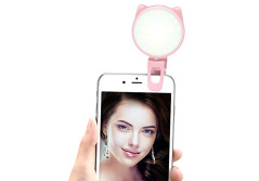 Buy this discounted product Selfie Light - ALCLAP Clip on Ring Light 32 LED Camera Light with Rechargeable Battery for Cell Phones, Tablets, Laptops (Pink) on Amazon