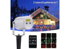 Buy this discounted product Laser Christmas Light, Ominilight Aluminum Alloy Star Projector Shower with 6 in 1 Pattern, Remote Contol, Waterproof Landscape Lighting, Outdoor Decorations on Amazon