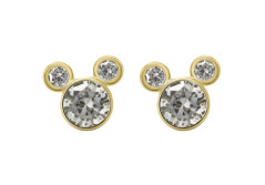 Buy this discounted product Disney Women's and Girls Jewelry Mickey Mouse 10k Yellow Gold Cubic Zirconia Stud Earrings on Amazon