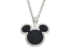 "Buy this discounted product Disney Women's and Girls Jewelry Mickey Mouse Silver Plated Brass Black Glitter Pendant Necklace, 18"" on Amazon"