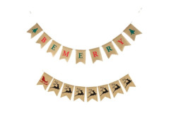 Buy this discounted product Be Merry Burlap Banner , Christmas Reindeer Banner Garland For Christmas Decorations Home Garden Indoor Outdoor Decor on Amazon